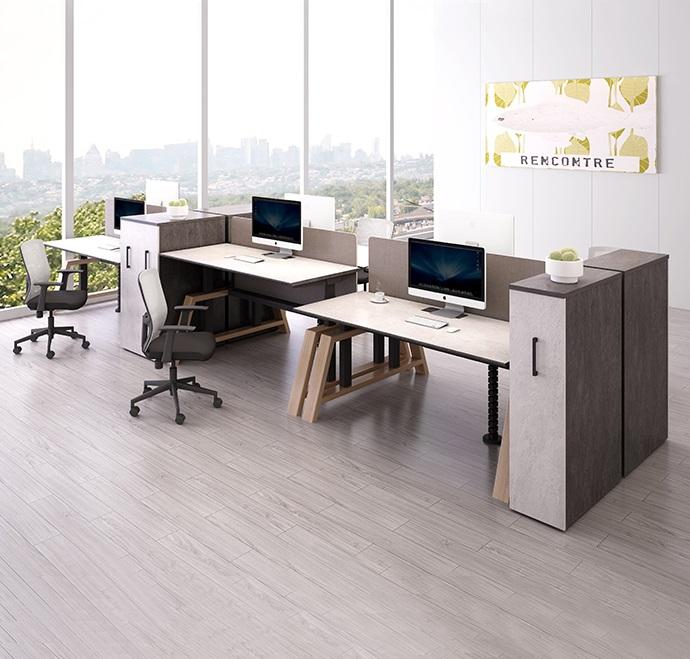 北歐風格電動升降桌 配特色實木桌腿