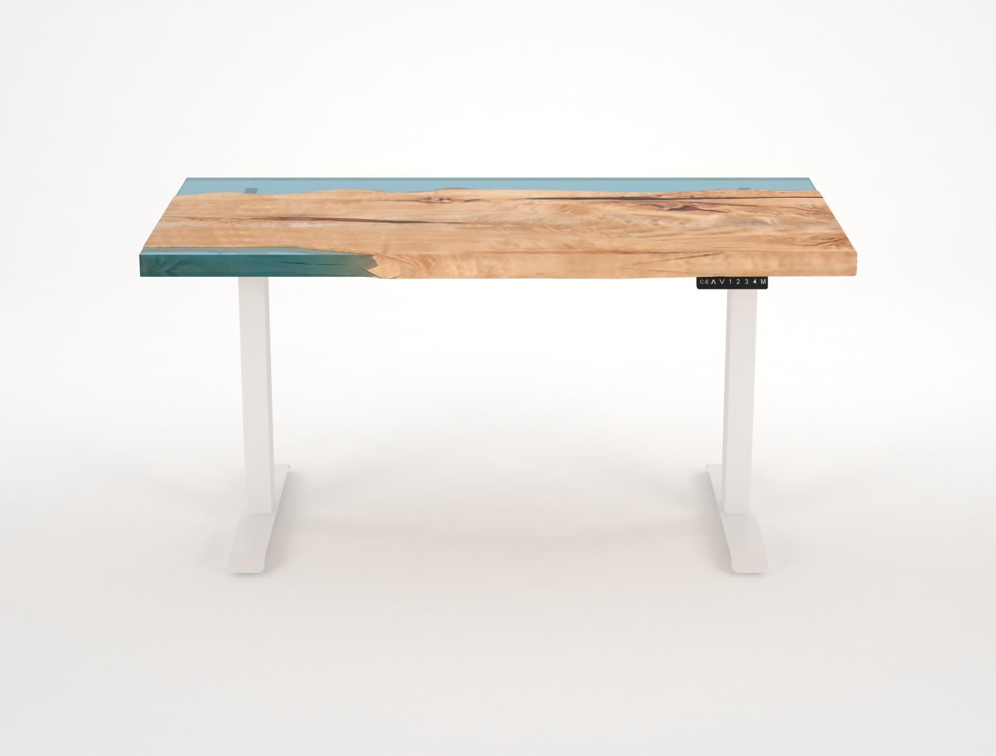 實木拼樹脂電動升降桌